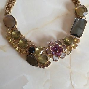 {BANANA REPUBLIC} Crystal Gold Played Necklace BR